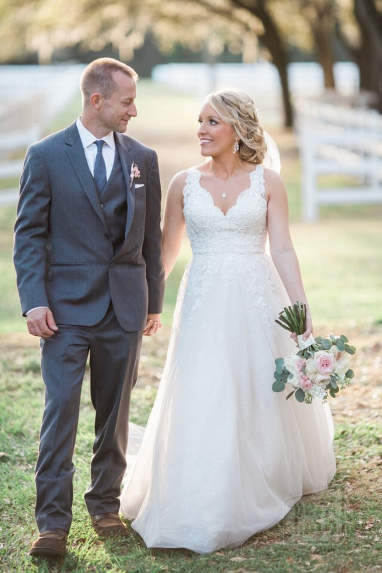 Melissa Dohme and Cameron Hill on their wedding day