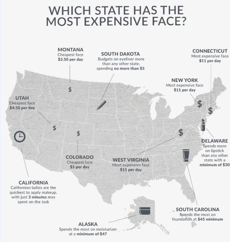 SkinStore.com, makeup, United States map