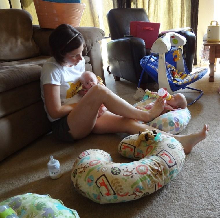 Lauren Perkins feeding babies