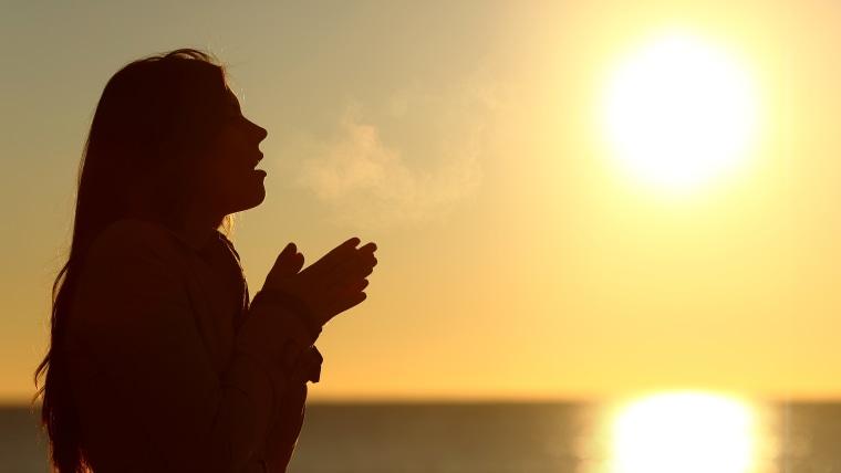 Woman silhouette breathing
