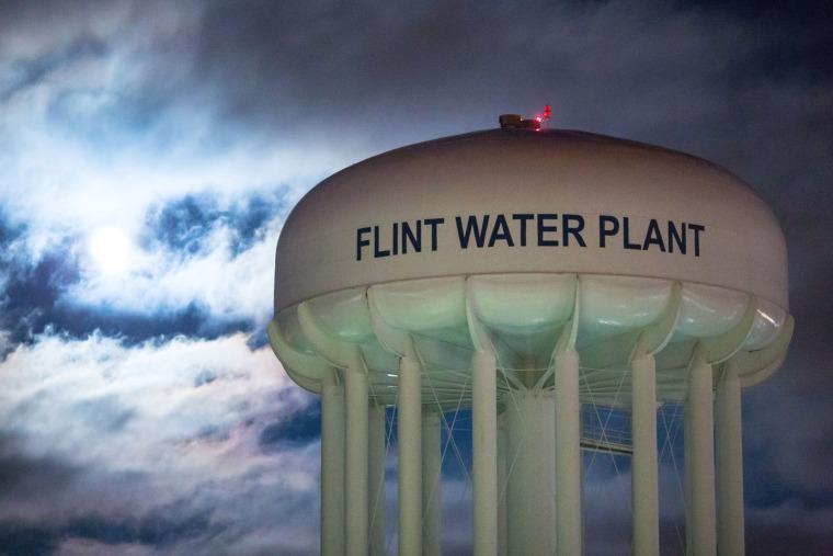 Image: The City of Flint Water Plant is illuminated by moonlight
