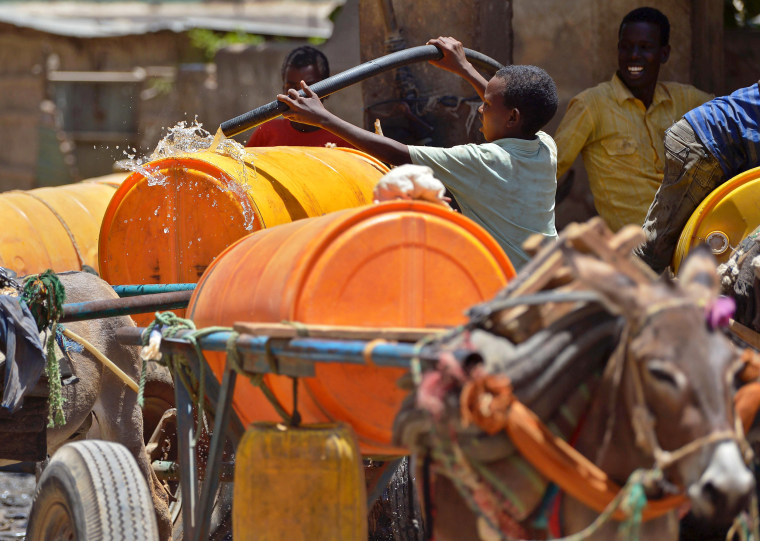 Image: A young boy fills a water drum loaded on a donkey-cart before selling it on March 15 in Baidoa.