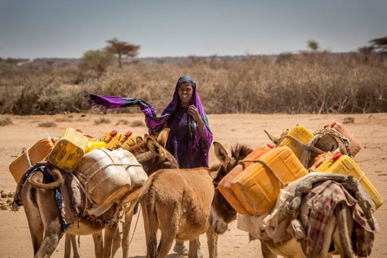 Image: A woman leads her donkeys loaded with jerrycans in the drought-stricken Baligubadle village near Hargeisa, the capital city of Somaliland, March 15, 2017.