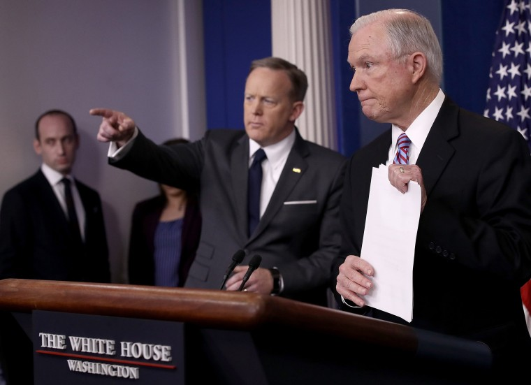 Image: Jeff Sessions Joins Sean Spicer For Daily Press Briefing At The White House