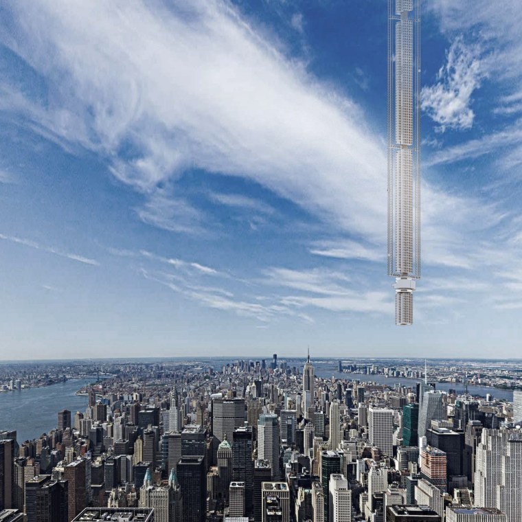 Analemma Tower would travel on a daily loop between the northern and southern hemispheres, including a daily pass over Midtown Manhattan.