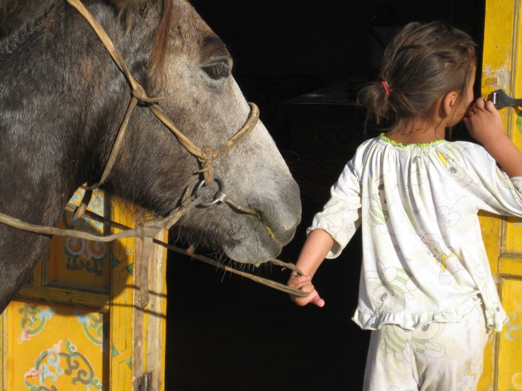 "A girl with a donkey in Mongolia from new documentary film, ""The Circus Saved My Life"""