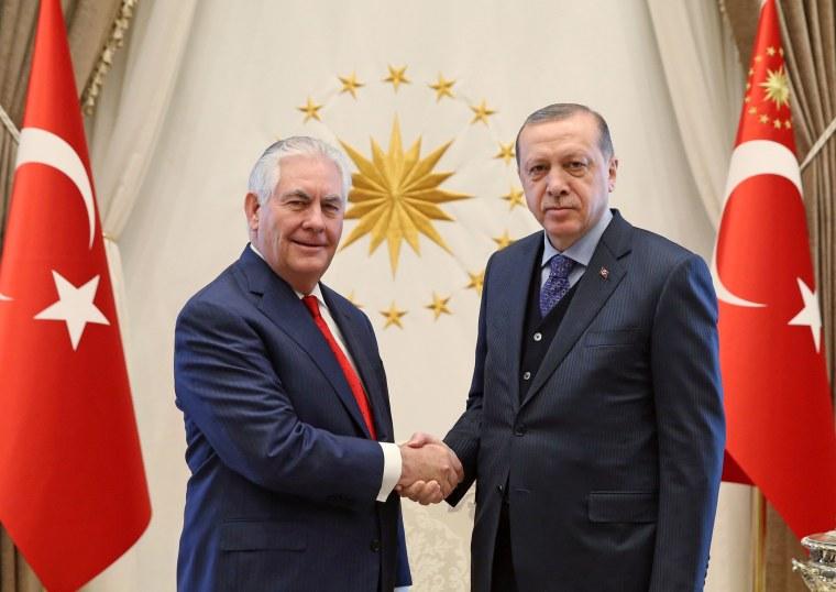Image: Secretary of State Rex Tillerson shakes hands with Turkish President Recep Tayyip Erdogan