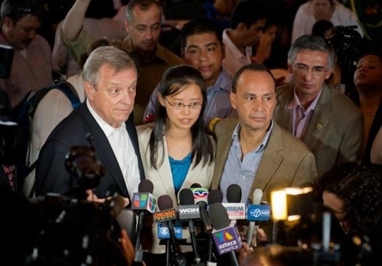 Sen. Richard Durbin (D-IL) (l.), Tereza Lee and U.S. Rep. Luis Gutierrez (D-IL) on DACA Day in August 2012.