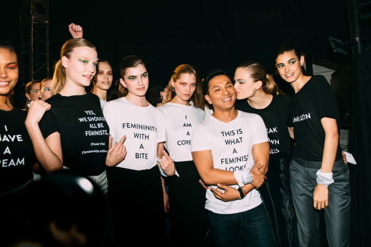 Prabal Gurung and his models after his latest New York Fashion Week show.