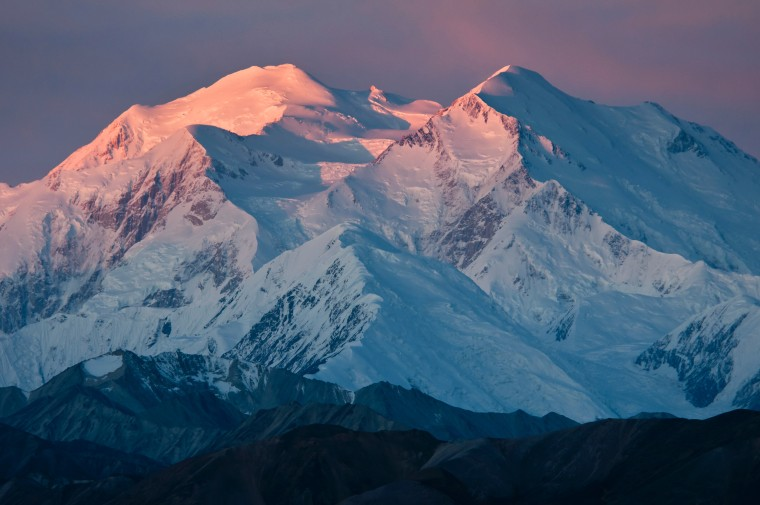 The sun rises over Denali National Park and Preserve in Alaska.