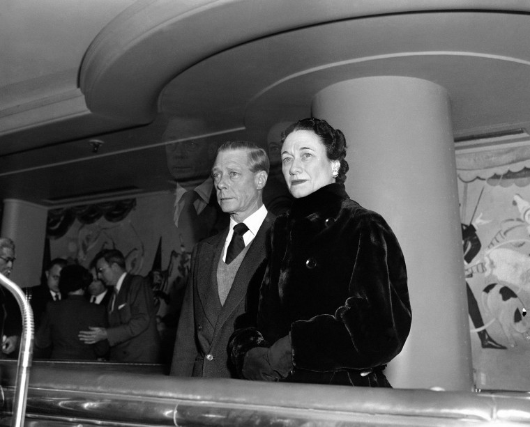 Image: The Duke of Windsor, Prince Edward, stands with his wife the Duchess of Windsor, Wallis Simpson, before he sailed on the Queen Mary from New York on Feb. 7, 1952.