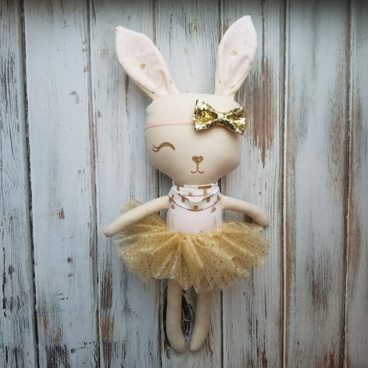 A bunny for Brynn. Danielle Munger ordered this custom bunny doll for her daughter, who lost her left eye to cancer.