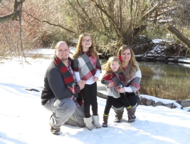 The Mungers: Dad Tyrell; 6-year-old Tay; Brynn, and her mom, Danielle, in a family photo taken January.