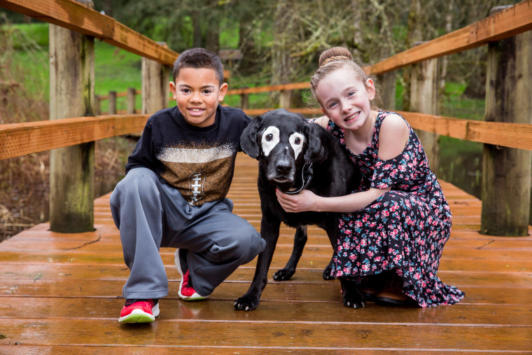Carter and Ava with Rowdy on their recent visit to Oregon.