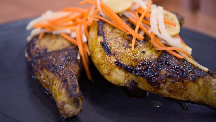 Maple-Turmeric Pork Chops with Pickled Carrots and Daikon
