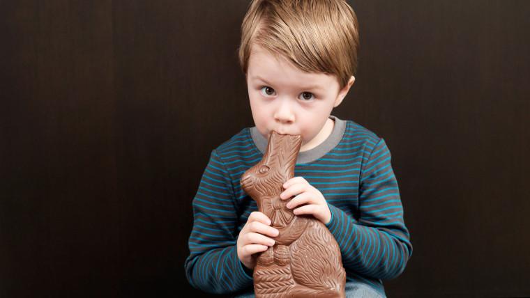 Boy Eating Chocolate Bunny