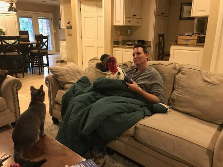Albert the turkey likes hanging out inside with his family on the couch.