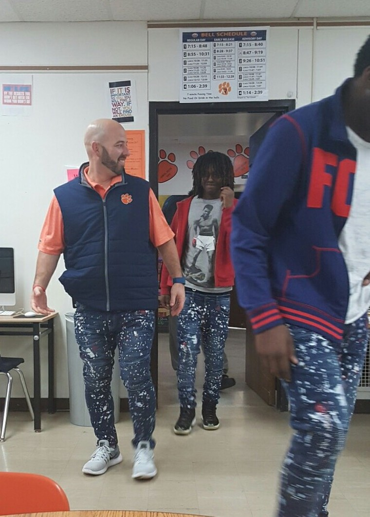 Miller says he had no idea his students were serious about buying him his own pair of jeans.