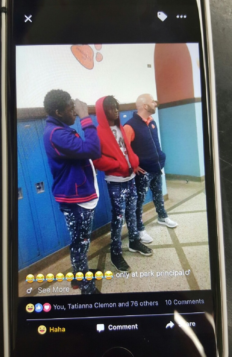 Miller says students throughout the school took photos of himself and the boys, posting the images to social media.
