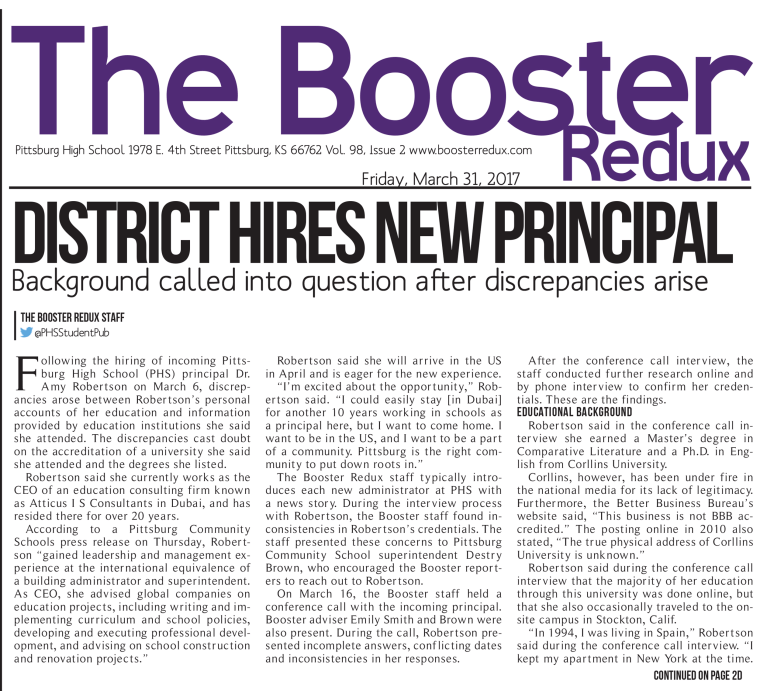 The Booster Redux newspaper by Pittsburg High School in Kansas