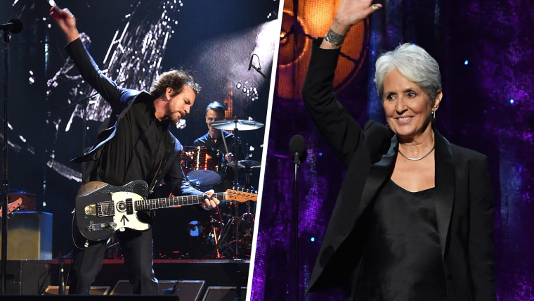 Grunge rockers Pearl Jam and folk activist Joan Baez were two of this year's Rock Hall honorees.