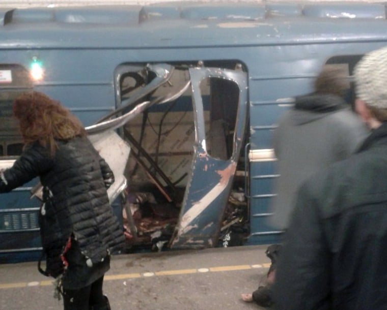 Image: The explosion tore through a subway car at about 2:40 p.m. local time (7:30 a.m. ET) Monday.