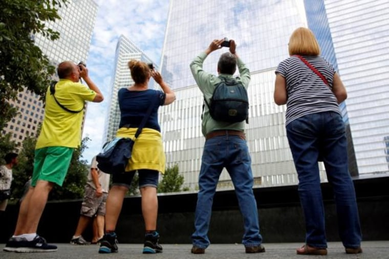 Guests tour the National September 11 Memorial and Museum in Lower Manhattan in New York City