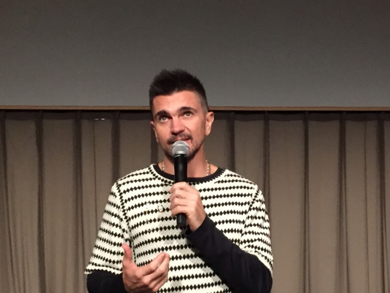"Juanes speaks at ""Hispanicize"" in Miami after the screening of his new visual album."