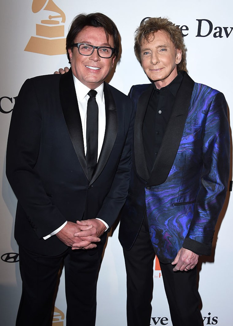 Barry Manilow (R) and Garry Kief attend the 2016 Pre-GRAMMY Gala and Salute to Industry Icons at the Beverly Hilton Hotel on February 14, 2016 in Beverly Hills, California.