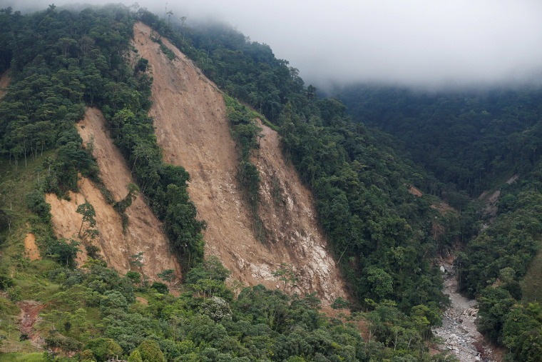 Image: Aerial view of the mountain where the landslide originated after flooding and mudslides caused by heavy rains leading several rivers to overflow, pushing sediment and rocks into buildings and roads, in Mocoa