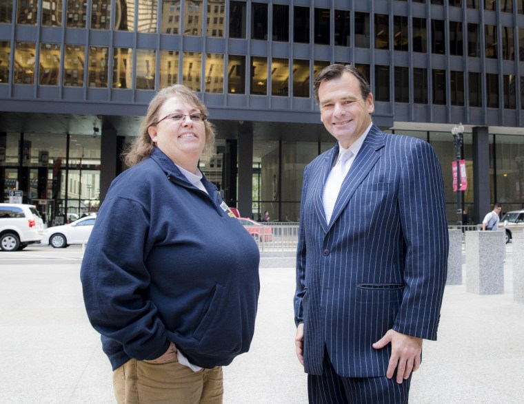 (L-R) Kimberly Hively, plaintiff in Kimberly Hively v. Ivy Tech Community College, and her attorney, Gregory Nevins of Lambda Legal