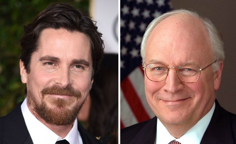 Image: Combo image of Christian Bale and Dick Cheney