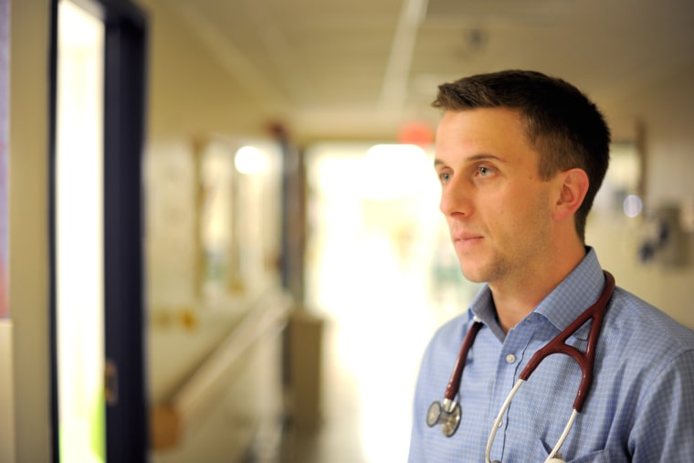 Medical Student Nick Bonenfant '17 working in an acting internship in the Pediatrics Department at the UVM Medical Center.