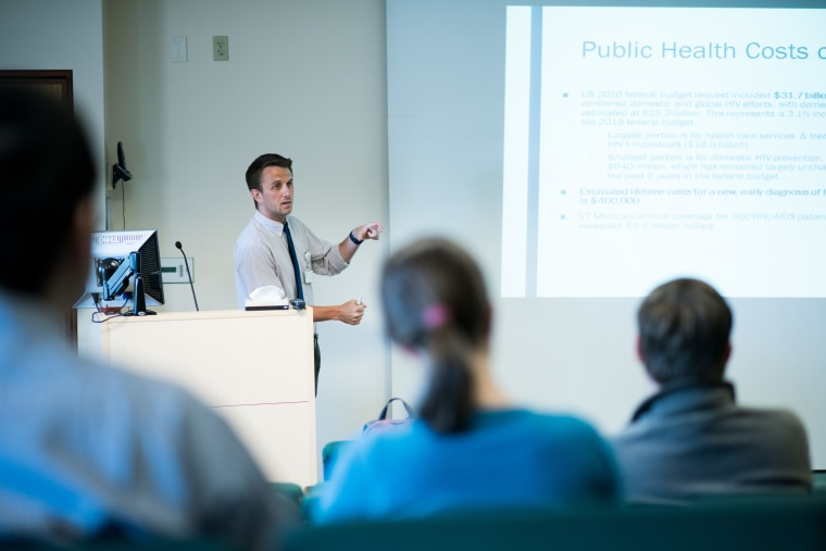 Fourth-year medical student Nicholas Bonenfant presents his scholarly project to UVM Medical Center residents