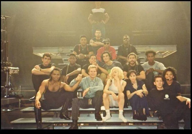 Madonna and her crew on tour