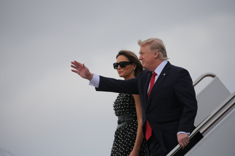Image: U.S. President Donald Trump and first lady Melania Trump arrive at Palm Beach International Airport in West Palm Beach