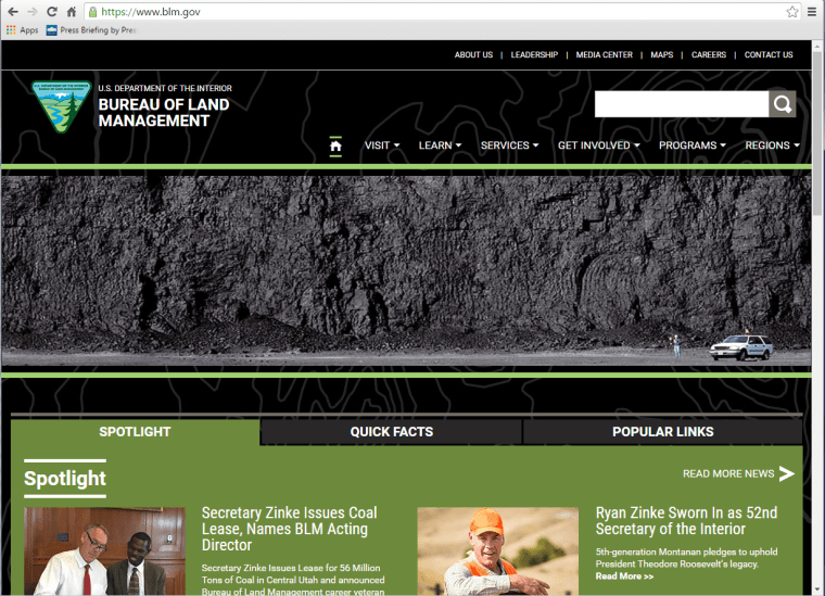 The homepage of the Bureau of Land Management website was changed to showcase a photo of a coal bed on March 31.