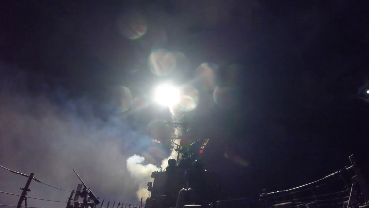 A U.S. destroyer fires a tomahawk land attack missile from the Mediterranean Sea on Friday, April 7, 2017 local time.