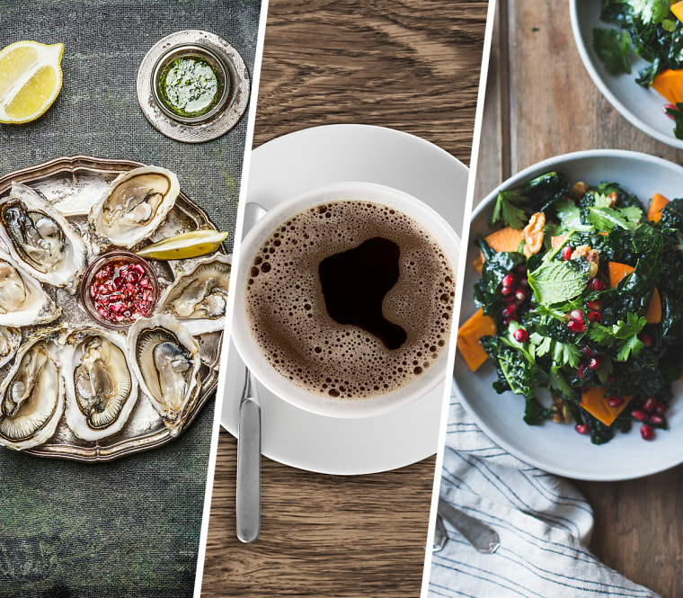 Image: Oysters, coffee, kale salad