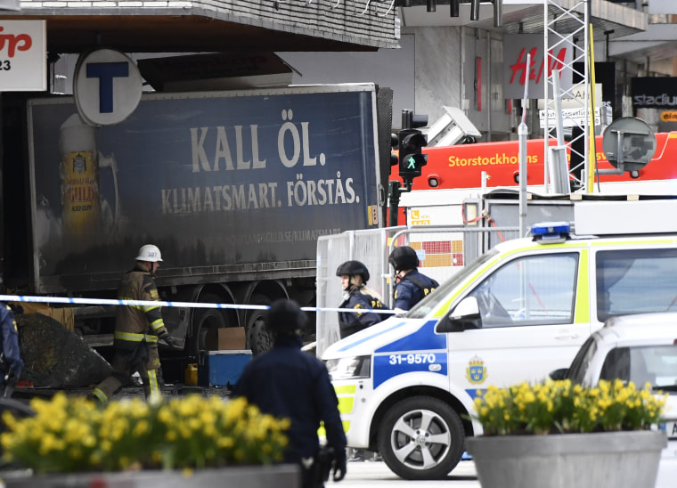 Image: Police cordon off the truck that crashed into the Ahlens department store at Drottninggatan in central Stockholm, April 7, 2017.
