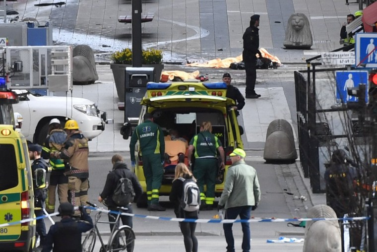 Image: People were killed when a truck crashed into department store Ahlens on Drottninggatan, in central Stockholm