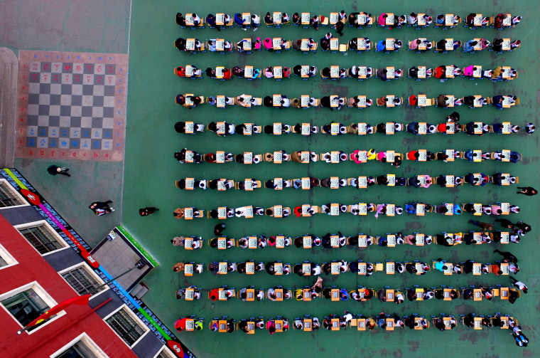 Image: Chinese students participate in a chess competition