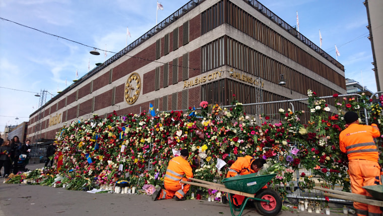 Image: Flowers outside Ahlens department store