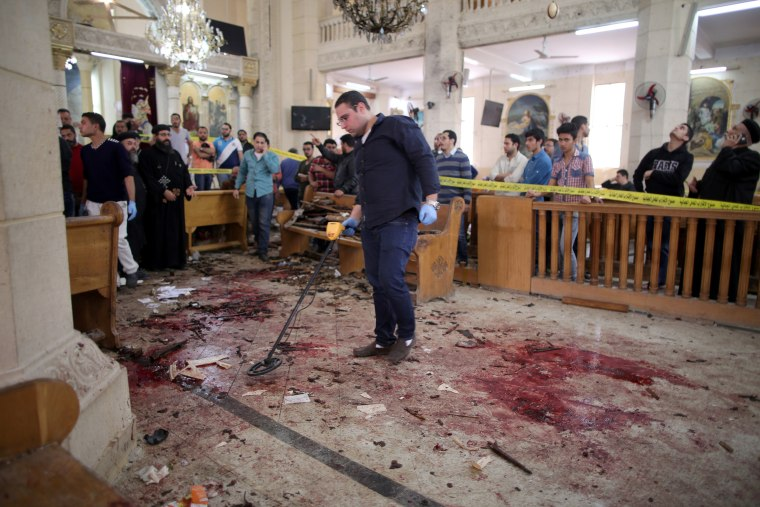 Image: At least 28 were killed in an explosion in Mar Girgis church in Egypt