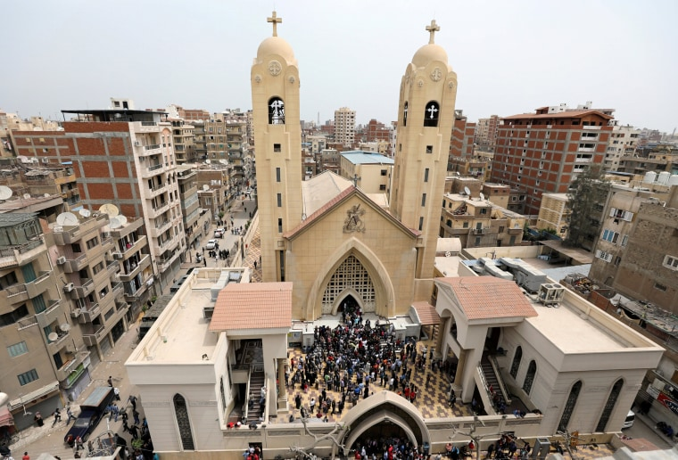 Image: Egyptians gather at the church in Tanta.