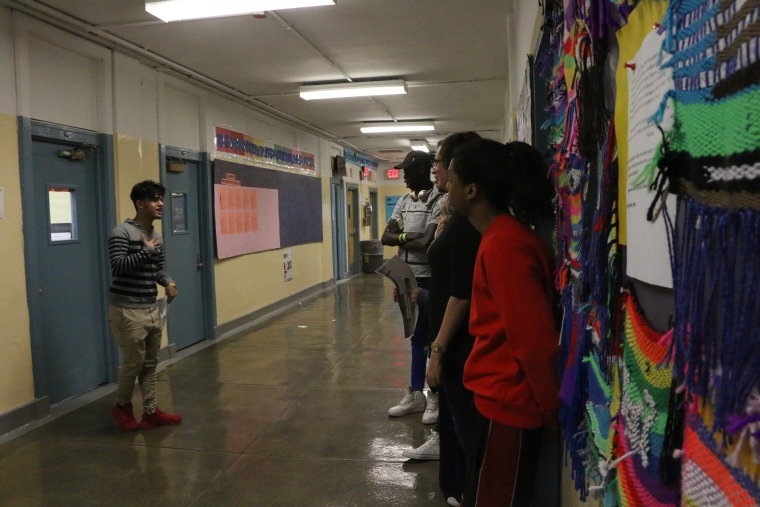 Students at the Manhattan International High School rehearse vignettes during a workshop led by The New Victory Theater.