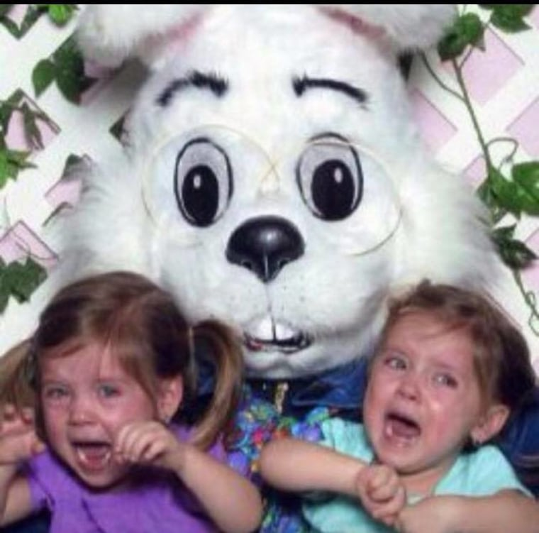 Madison and Mackenzie McNeil were terrified of the Easter Bunny between the ages of two and six, according to their mom, Christine.