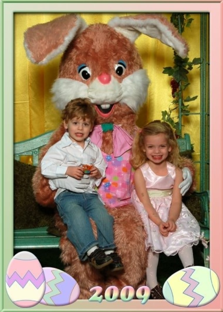 While Makayla was terrified of the bunny in 2007, two years later she was all smiles.