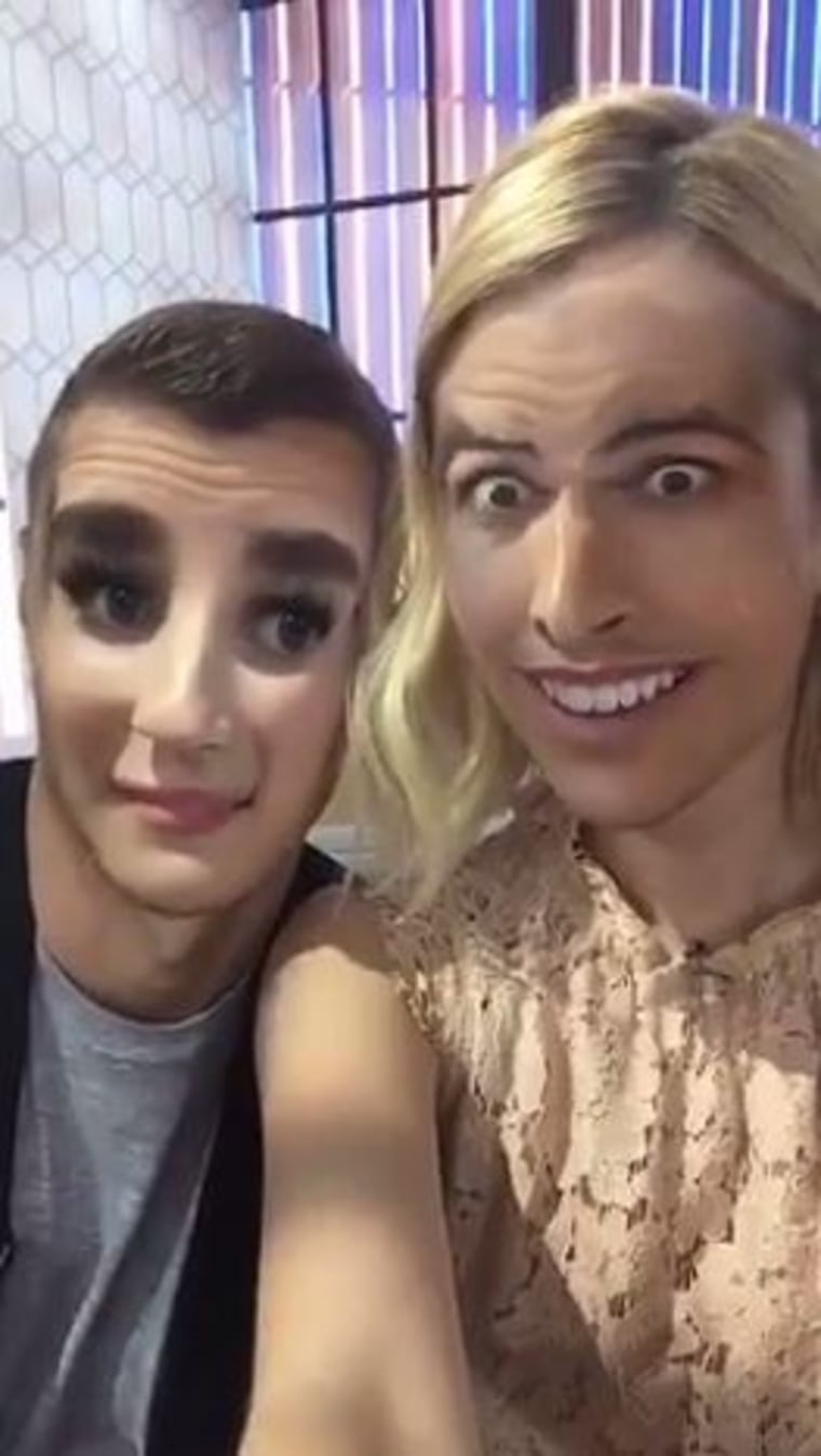 Emma Roberts and Dave Franco swap faces while promoting 'Nerve'.