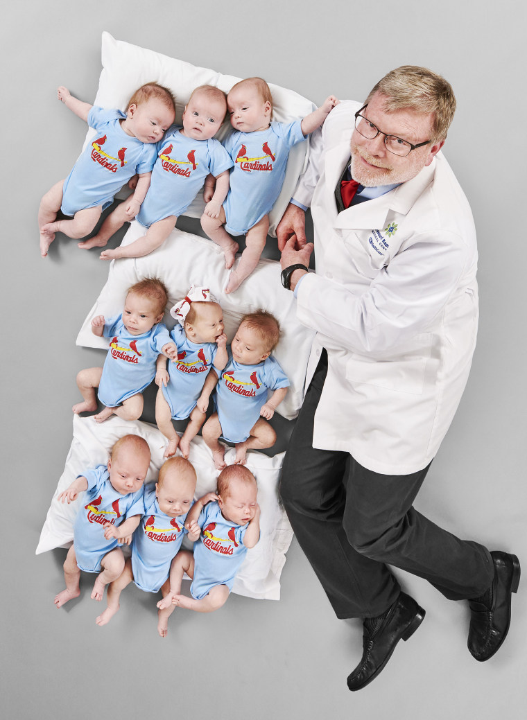 Three sets of triplets delivered by St. Louis doctor